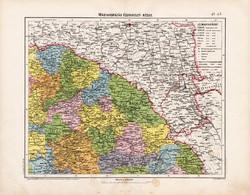 Északkelet - Magyarország térkép 1906, magyar atlasz térképe, eredeti, Homolka József, antik, régi