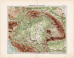 Magyarország hegy - és vízrajzi térkép 1906, magyar atlasz térképe, eredeti, Homolka József, antik