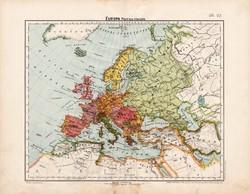Európa politikai térkép 1906, magyar atlasz, eredeti, régi, magyar nyelvű, antik, politika, ország