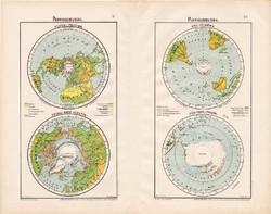 Világtérkép 1906, Északi - és Déli - Félgömb, Északi - és Déli - sark, atlasz, eredeti, térkép, Föld