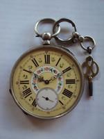 Csodaszép antik ezüst kulcsos,jelenetes,Zsebóra