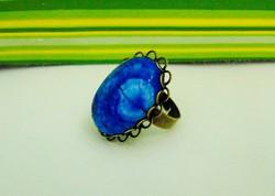 Gyönyörű kék csipkeachát gyűrű