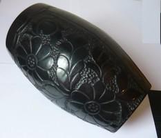 Korondi fekete kerámia váza- vésett  26cm  jelzett
