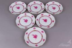 6db Herendi Apponyi Purpur mintás süteményes tányér