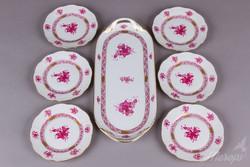 6 személyes Herendi Apponyi Purpur mintás süteményes készlet