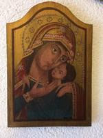Kézzel festett nagy méretű 36×24.4cm szígnozott ikon.