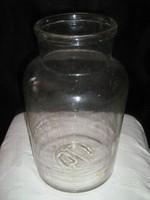 Régi, nagyméretű széles szájú huta üveg