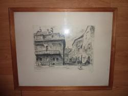 Tichy Kálmán: Öreg házak Budán, 1962, régi rézkarc, jelzett