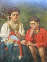 """Gachal József(1889-1974)Eredeti festménye.""""Testvérek""""Garanciával."""