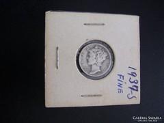 USA One Dime 1937 S  Silver, Fine!