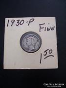 USA One Dime 1930  Silver, Fine!