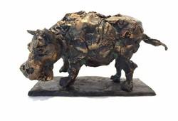 Tóth Ernő - Viziló 18 x 11 x 6 cm bronz