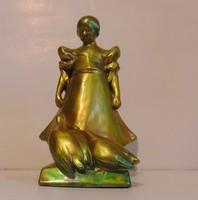 Zsolnay eozin antik pajzspecsétes libás lány 24 cm