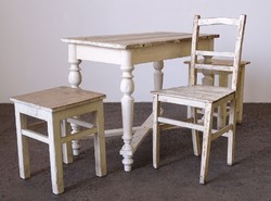 0M258 Antik étkezőasztal parasztasztal székekkel