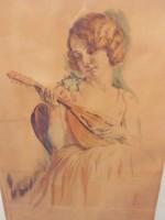 Prihoda István(1891-1956) akvarellje.Gyönyörű keretben.
