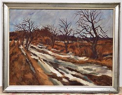 V. Tóth László (1930-) Télutó 86x66cm Képcsarnokos festménye eredeti Garanciával !