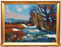 Doór Ferenc ( 1918-) Táj hófoltokkal 86x66cm Képcsarnokos festménye eredeti Garanciával !