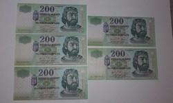 200 forint,évszám követő 5 db 2003-tól 2007 ig  nagyon szép ropogós  bankjegy EF !