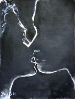 A csók.Monokróm tus festmény a nemzetközileg is elismert művésztől!
