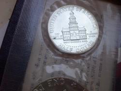 1974 USA ezüst dollár sor eredeti tok,certi ezüst 1 ,fél,negyed dollár 0,400