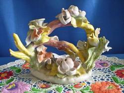 Óriási jelzett porcelán virág csokor, ikebana