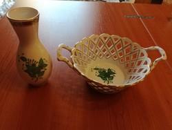 Herendi Apponyi mintás porcelán áttört tál és váza