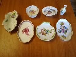 7 db Herendi porcelán hamutál, tál, váza Apponyi, Viktória