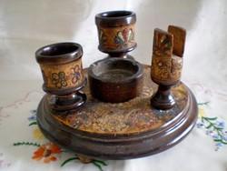Antik faragott, festett fa dohányzó készlet 5 részes