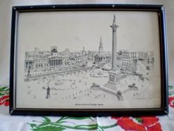 KIÁRUSÍTÁS!!! Keretezett, szignózott grafika, kép: Trafalgar tér Nelson