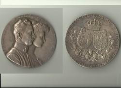 Károly és Zita ezüstözött esküvői emlékérem 1911-ből