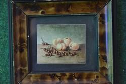 Miniatűr olaj csendélet 5,5x4,5 cm
