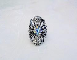 Szép fehér és szivárvány köves,virágos,ovális állítható gyűrű