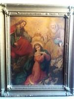 Antik oltárkép szentkép ikon olaj vászon nyomat gyönyörű blondel aranyozott fa keretben keret árban