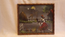 Üvegezett arany - fa képkeret festménnyel , falc 19,5x23 cm