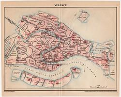 Velence (Olaszország) térkép 1898, antik, eredeti, Pallas, Itália,