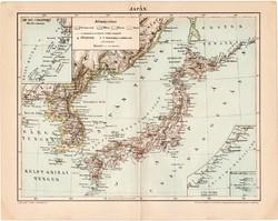 Japán térkép 1896, antik, eredeti, Pallas, Ázsia, sziget, Hokkaido