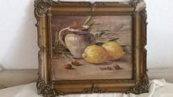 Gyönyörűen megfestett Csendélet olaj vászon festmény