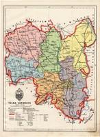 Tolna vármegye térkép 1934, csonka Magyarország, megye, 1930-as évek, régi, eredeti, atlasz
