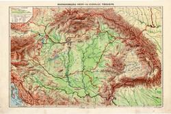 Nagy - Magyarország és Csonka Magyarország hegy - és vízrajzi térkép, kiadva 1934, atlasz, eredeti