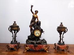 3 részes, szobros antik kandalló óra szett