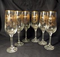 Szecessziós aranymintás pezsgős poharak 6 db gyönyörűek