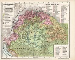 Magyarország térkép 1683, A török uralom legnagyobb kiterjedése korában, kiadva 1913, atlasz, régi