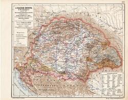 Magyarország térkép 1847, A Magyar Korona országai 1847-ben, kiadva 1913, atlasz, régi, eredeti