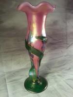 Kézzel készített fújt szecessziós irizáló üvegváza 34 cm