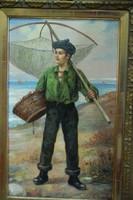 Halászó fiú szákkal - olajfestmény XIX. század, eredeti!