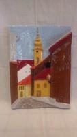 Gyönyörű Laky iparművész kerámia falikép , házak , torony