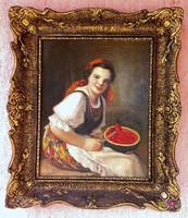 Dinnye kóstoló leány, Geiger Richard antik olaj-vászon festménye, szép blondel keretben.