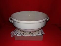 Antik szecessziós ritka füles fehér nagy méretű kispest Gránit porcelán dagasztó tál 27 X 12 cm cm