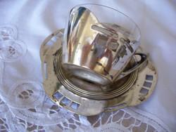 Szecessziós 2 személyes kávéskészlet, Argentor, eredeti üvegbetétekkel