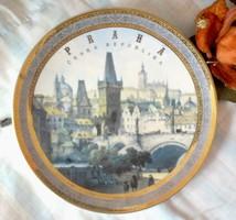 Praha, Prága Óváros porcelán aranyozott falitányér, gyűjtői